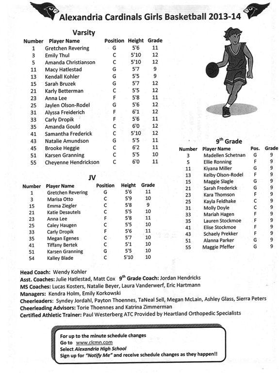 girls' basketball '13-14
