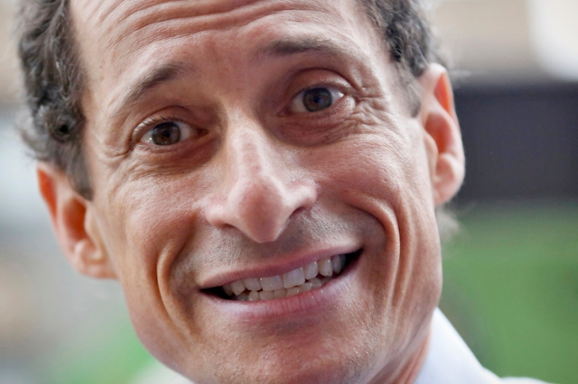 Former U.S. Congressman and New York City mayoral candidate Anthony Weiner speaks with reporters at campaign event in New York